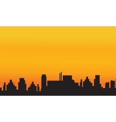 Orange backgrounds city silhouettes vector