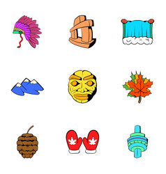 Ottawa icons set cartoon style vector