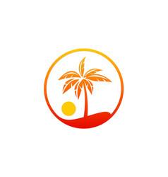 Palm tree beach sunset holiday logo vector