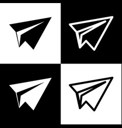Paper airplane sign black and white icons vector