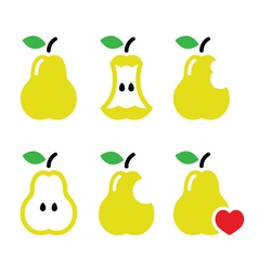 Pear pear core bitten half icons vector image vector image