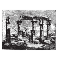 Ruins of thebes 18th dynasty vintage engraving vector