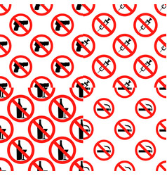 seamless set pattern with signs no smoking no vector image vector image