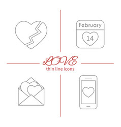 Set of isolated love thin line outlined icons vector