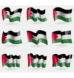 Set of palestine flags in the air vector