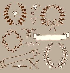 Sketch wreath heart arrow bow in vintage style vector image