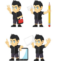 Spiky rocker boy customizable mascot 18 vector