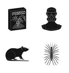 Staff packing with poison and pests black icons vector