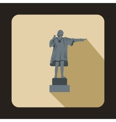 Statue of christopher columbus icon flat style vector