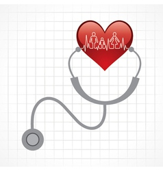 Stethoscope hold heart with heartbeat vector image
