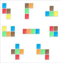 Tetris element set color design vector
