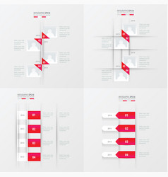 Timeline 4 item pink gradient color vector
