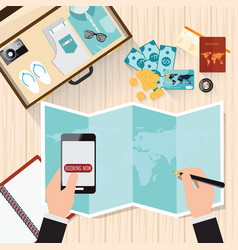 top view of travel planning vector image