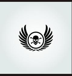 Winged skull design icon vector