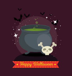 witches cauldron with green potion vector image
