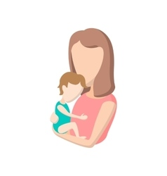 Young mother holding her baby cartoon icon vector