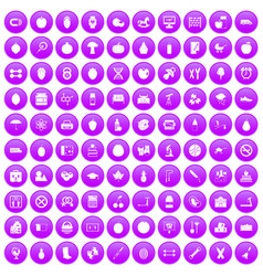 100 apple icons set purple vector