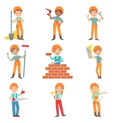 Construction work and kids builders set vector