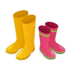 Isometric yellow and pink rubber boots isolated on vector