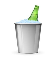 Beer with ice in metal bucket isolated on white vector