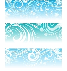 Set of banners with frosty ornament vector