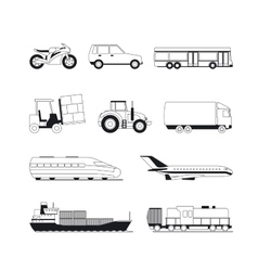 Outline transport black icons vector