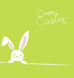 Easter rabbits card in green vector