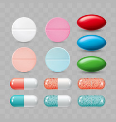 Set of colorful pills color group vector