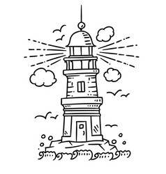 Lighthouse building on the rock vector
