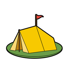 Tent on grass icon image vector