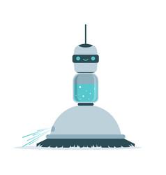Robot sweeping a floor vector