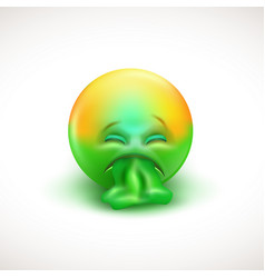 sick emoticon with tongue out - vector image