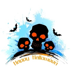 Skull in grungy halloween background vector