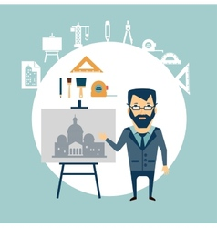 Architect restoring old buildings vector