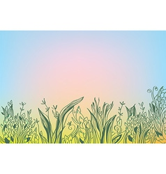 Autumn background with grass and glow vector