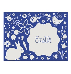 Easter card with floral elements and cute animals vector