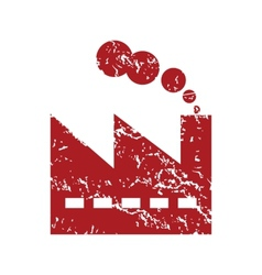 Red grunge factory logo vector image