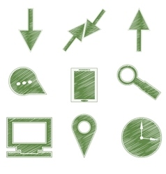 Set icons symbols arrows tablet magnifier vector