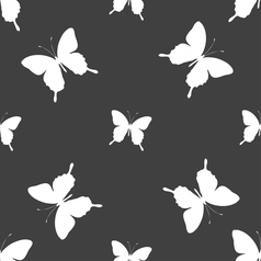 Butterfly icon sign seamless pattern on a gray vector
