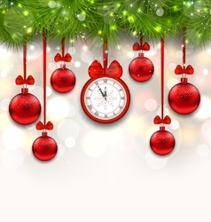 New year shimmering background with clock vector