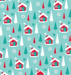 Snowy winter house pattern vector