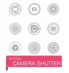 Camera shutter icon set vector