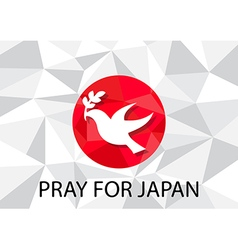 Pray for japan with dove olive symbol vector