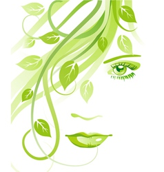 Girl with leaves vector