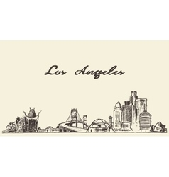 Los angeles skyline hand drawn sketch vector