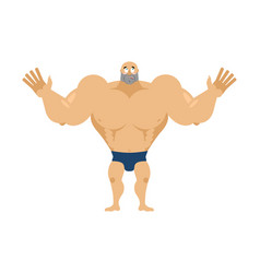 Athlete surprised astonished bodybuilder agaze vector
