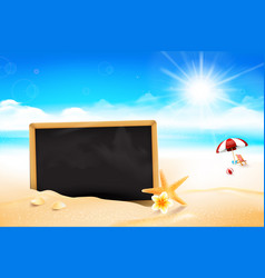 blank black board on the sand beach 002 vector image vector image