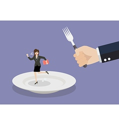 Business woman run away from big hungry man vector