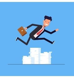 Businessman or manager jumping over obstacles vector
