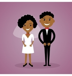 Cartoon afro-american bride and groom Cute black vector image